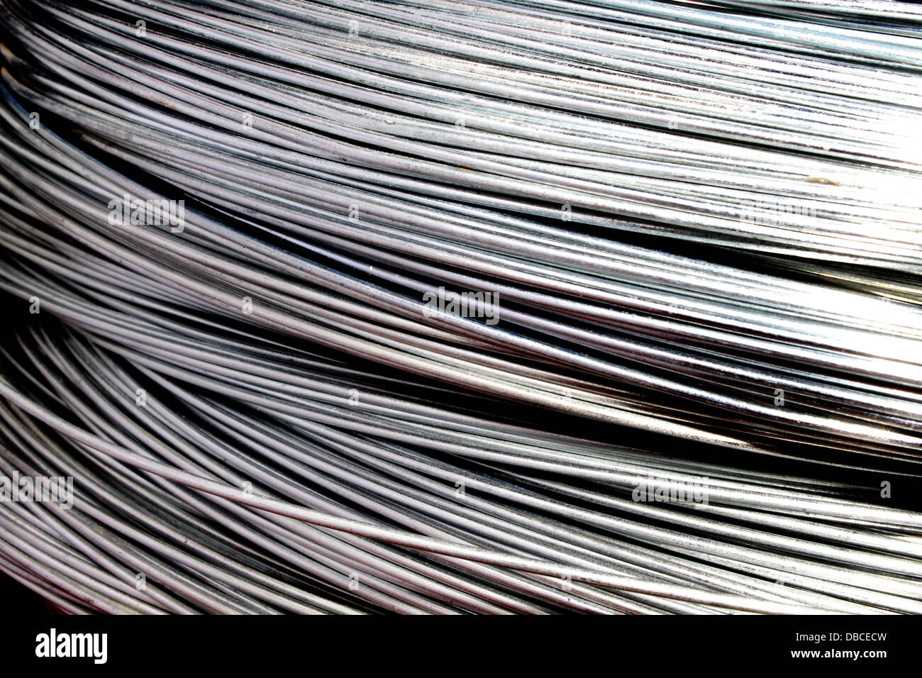 Close up shots of galvanized wires - Stock Image