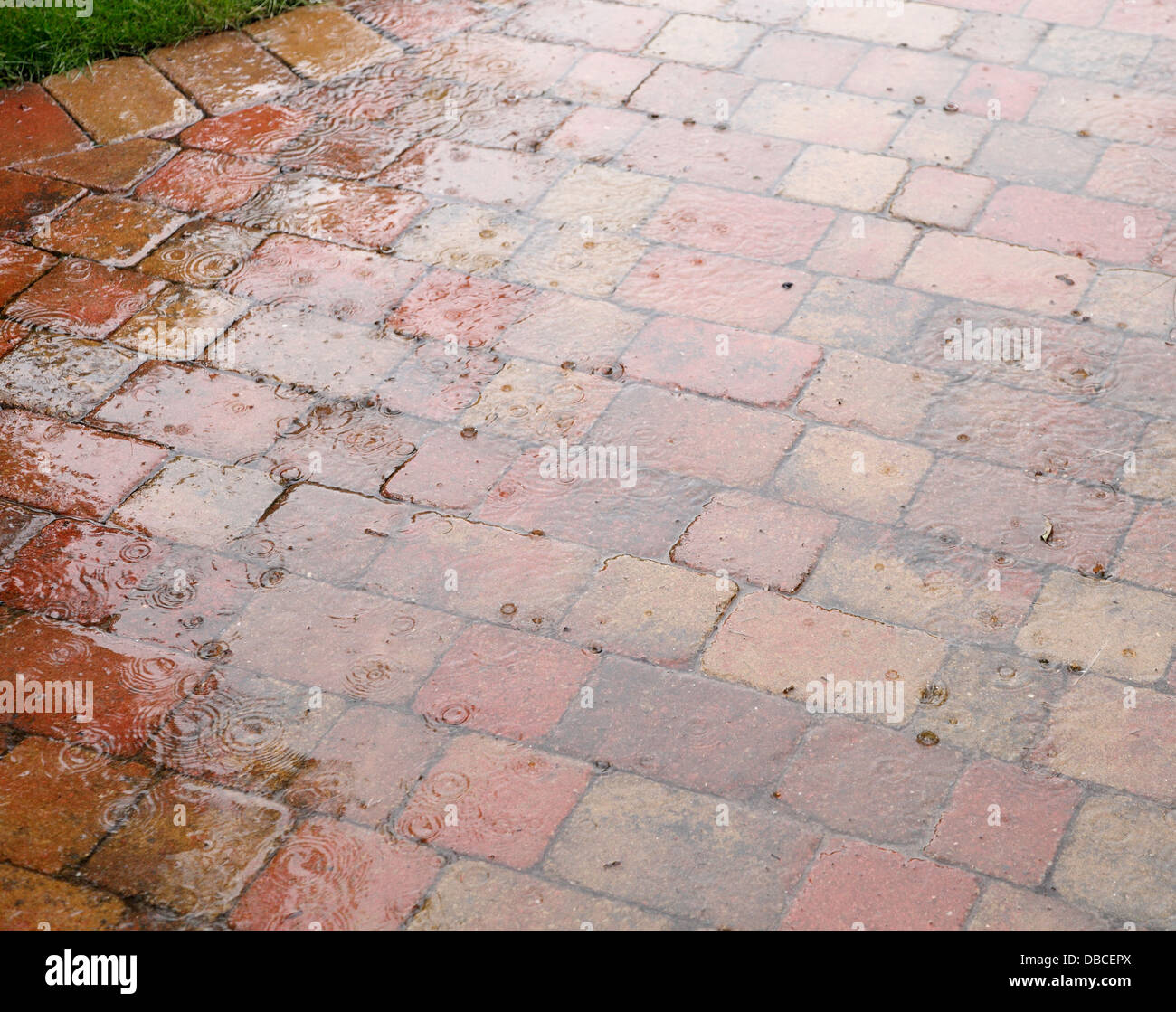 Heavy Raindrops Splashing On Rustic Red Brick Patio Paving In UK Garden  With Porous Joints Acting As Surface Water Soakaway