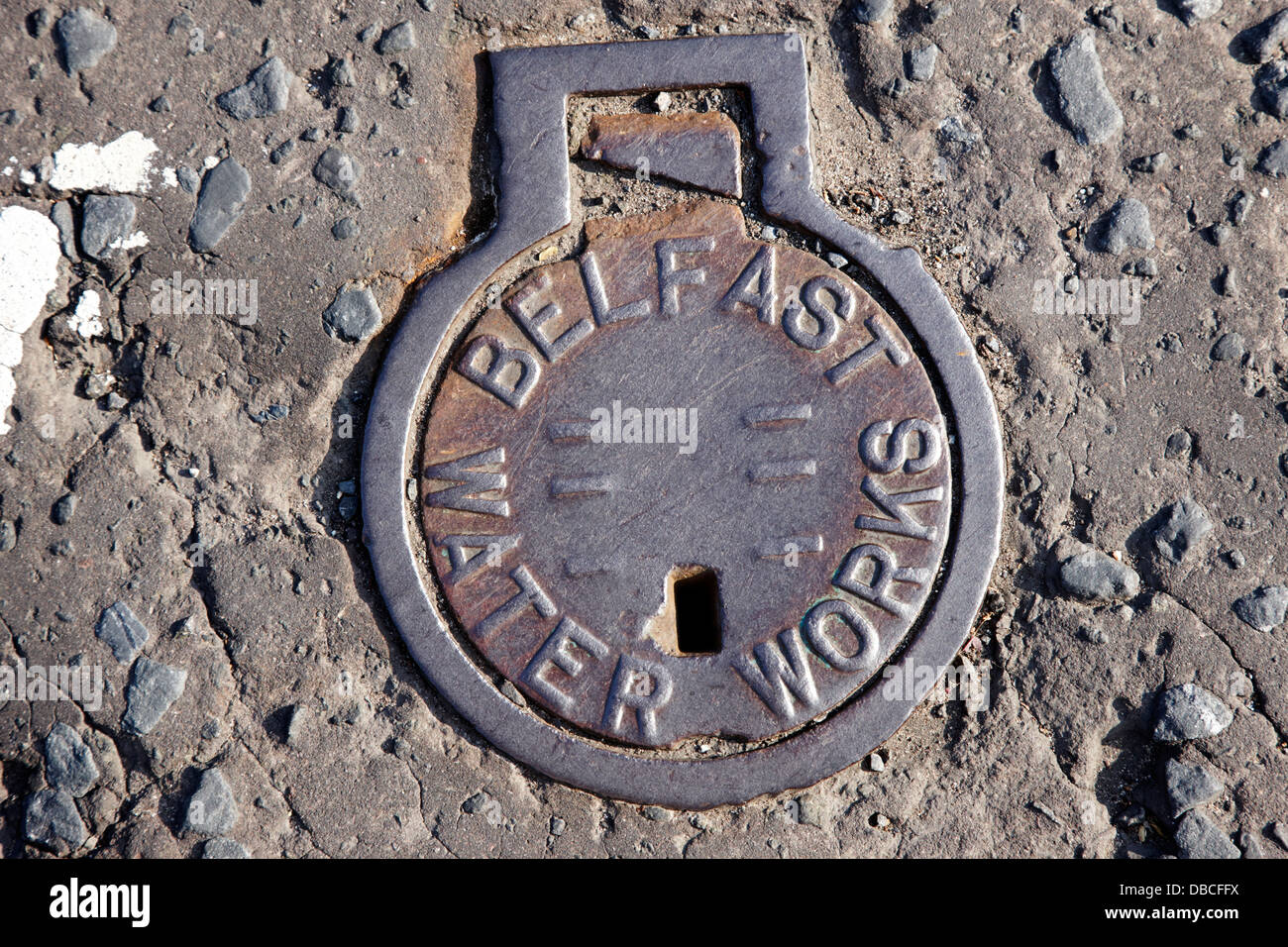 old metal belfast water works access point in the road belfast northern ireland uk - Stock Image
