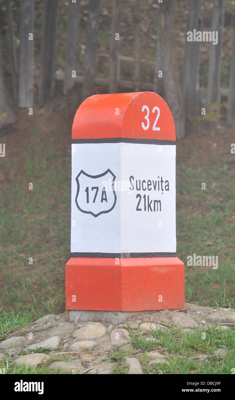 Milestone, Bukovina, Romania - Stock Image