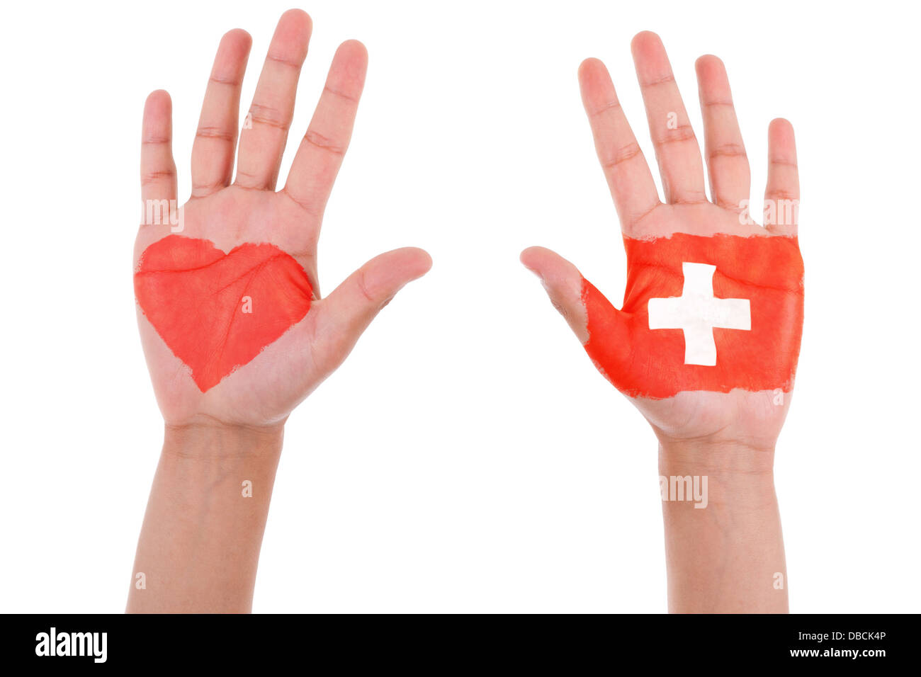 Hands with a painted heart and swiss flag, i love switzerland concept, isolated on white background - Stock Image