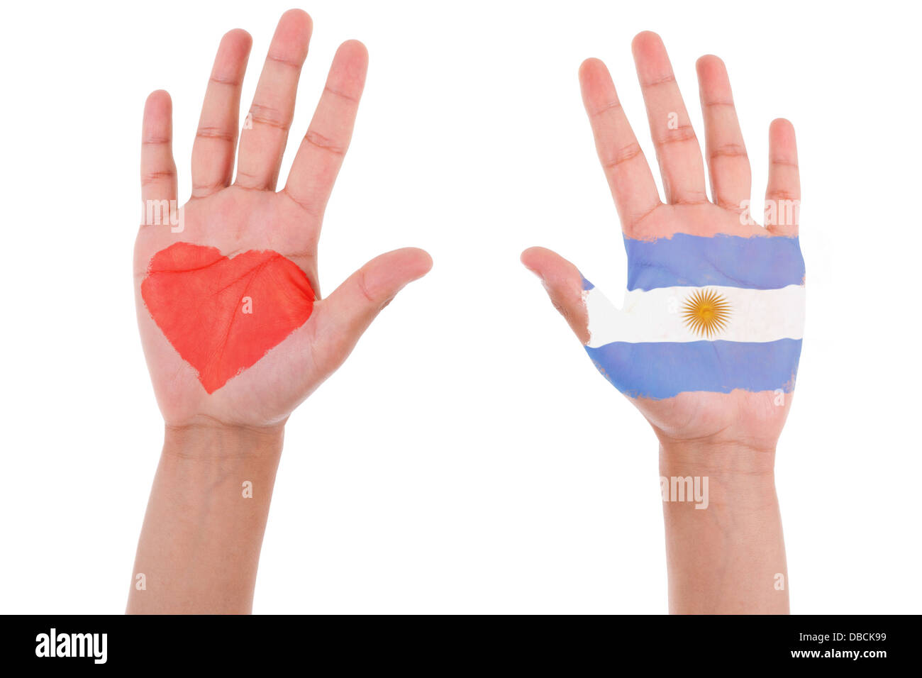 Hands with a painted heart and argentinian flag, i love argentina concept, isolated on white background - Stock Image