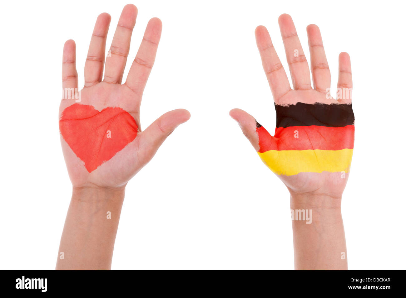 Hands with a painted heart and german flag, i love germany concept, isolated on white background - Stock Image