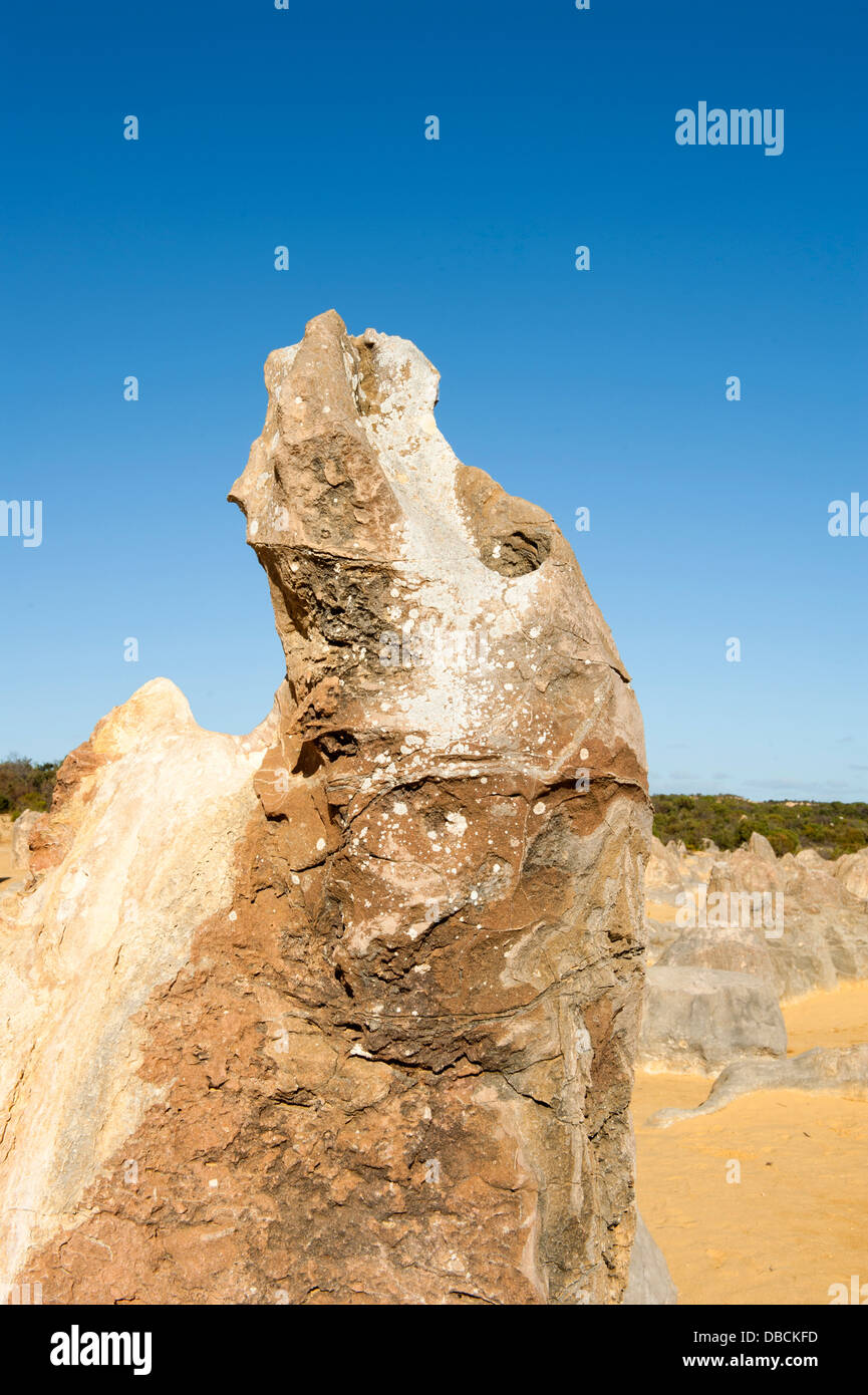 Sandstone pillars of the Pinnacles Desert in the heart of the Nambung National Park, Western Australia. - Stock Image