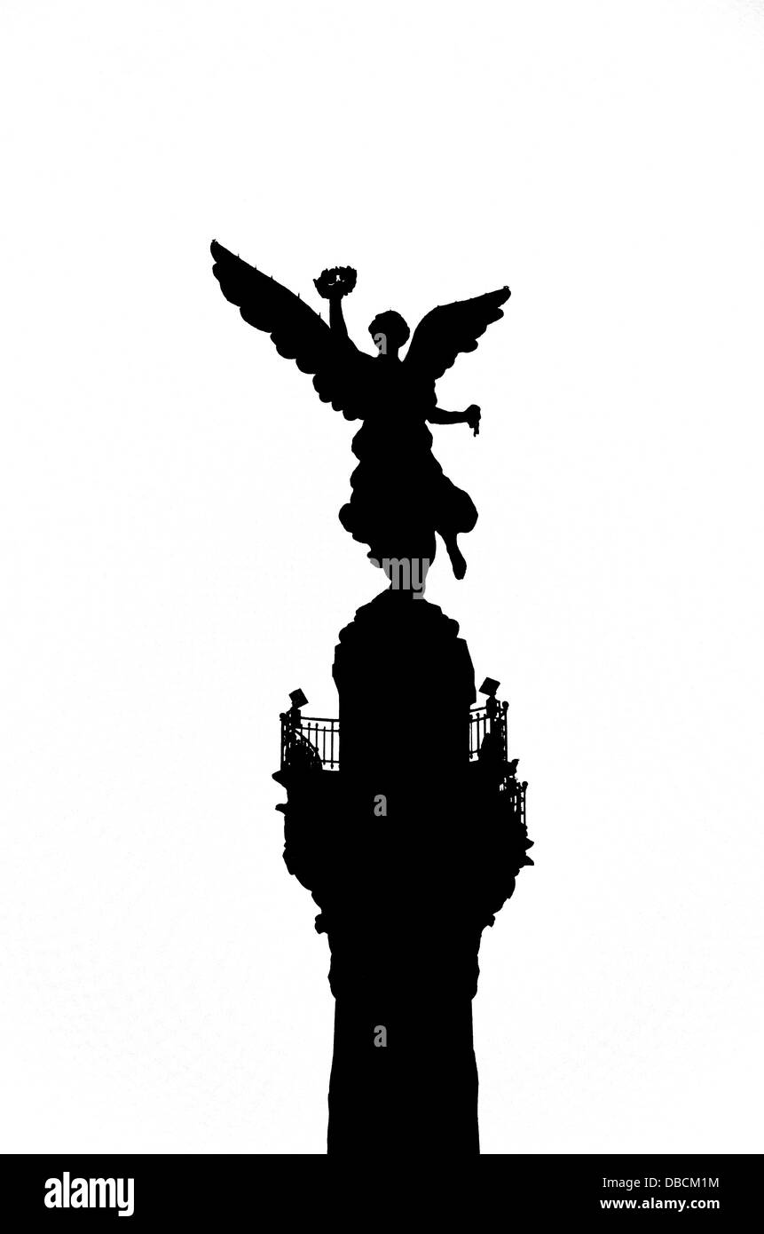 A black and white silhouette of the Angel of Independence in Mexico City - Stock Image