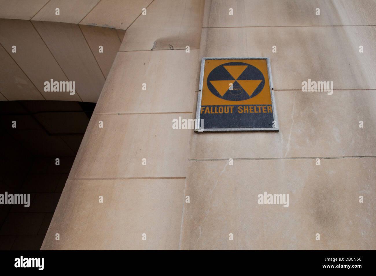 Fallout shelter sign on building entrance - Washington DC USA Stock Photo