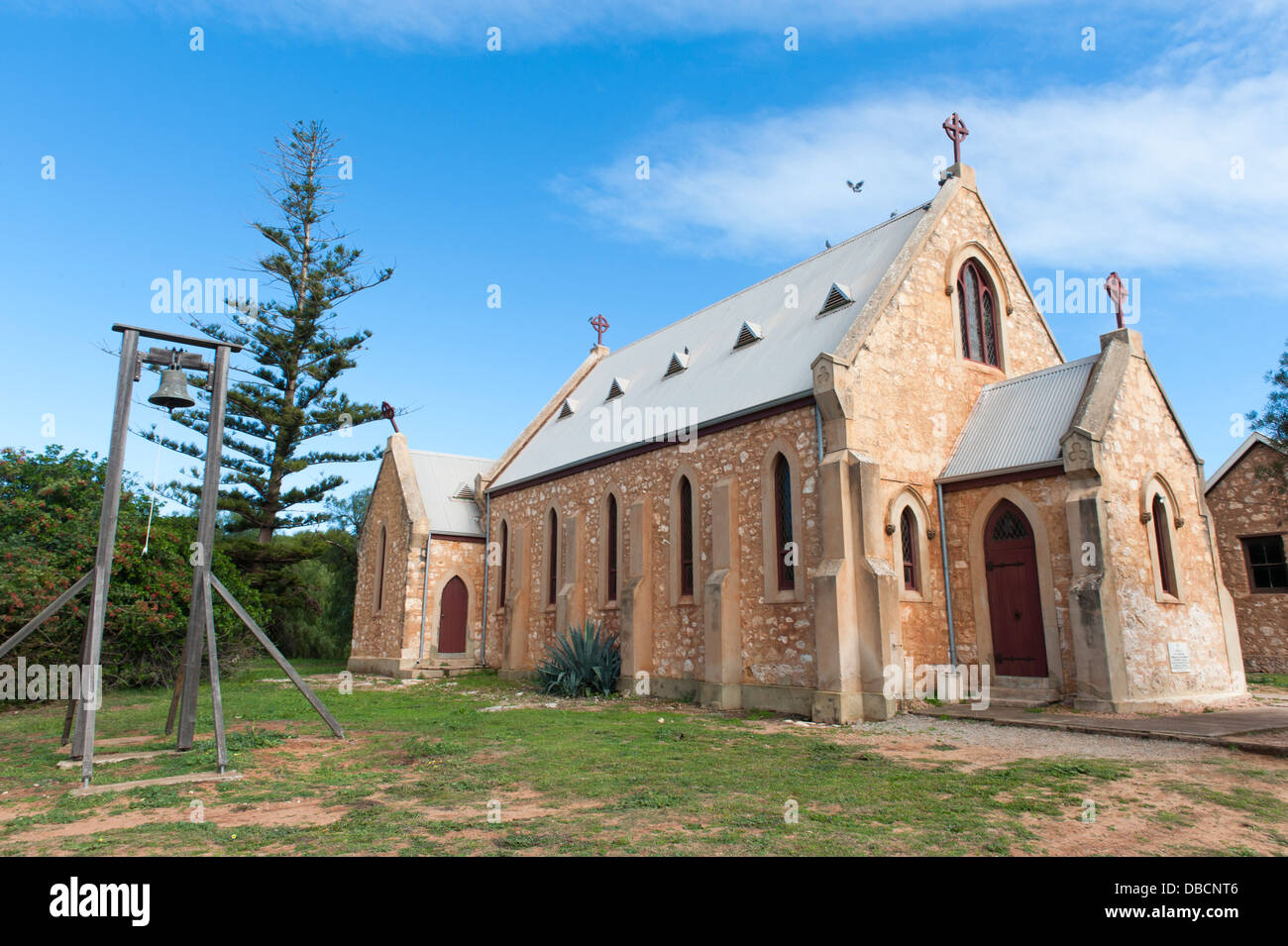St. Peter's Church at the Central Greenough Historic Settlement displaying heritage buildings by early settlers, - Stock Image
