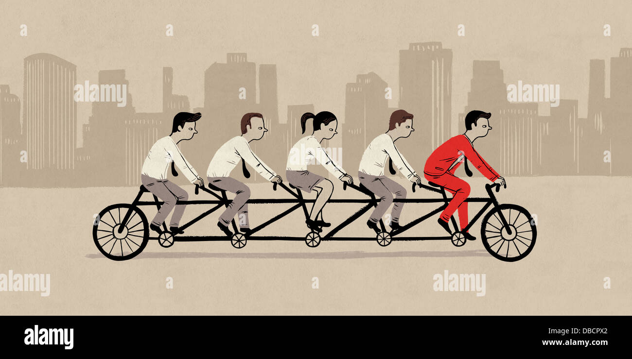 Illustrative image of businesspeople riding tandem bicycle representing teamwork - Stock Image