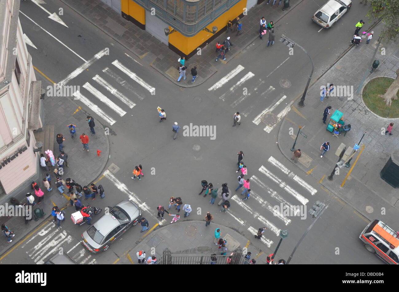 Aerial view of an intersection in central Lima, Peru - Stock Image