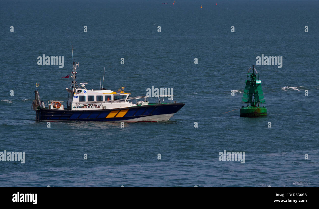 Southampton Harbour Master Spitfire and Buoy, Southampton Water, Hampshire, England - Stock Image