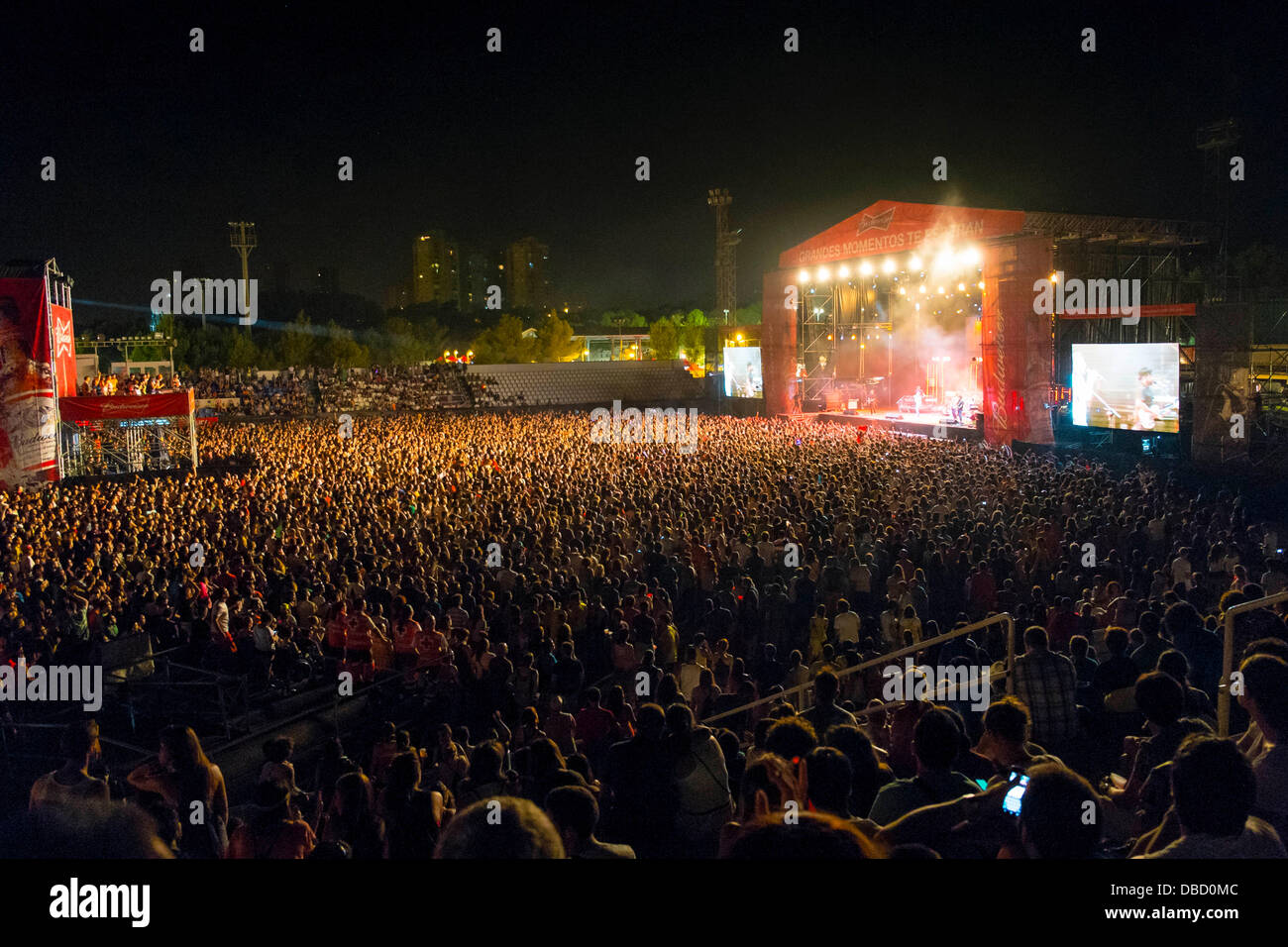Low Cost Festival, Benidorm; View of main stage and fans - Stock Image