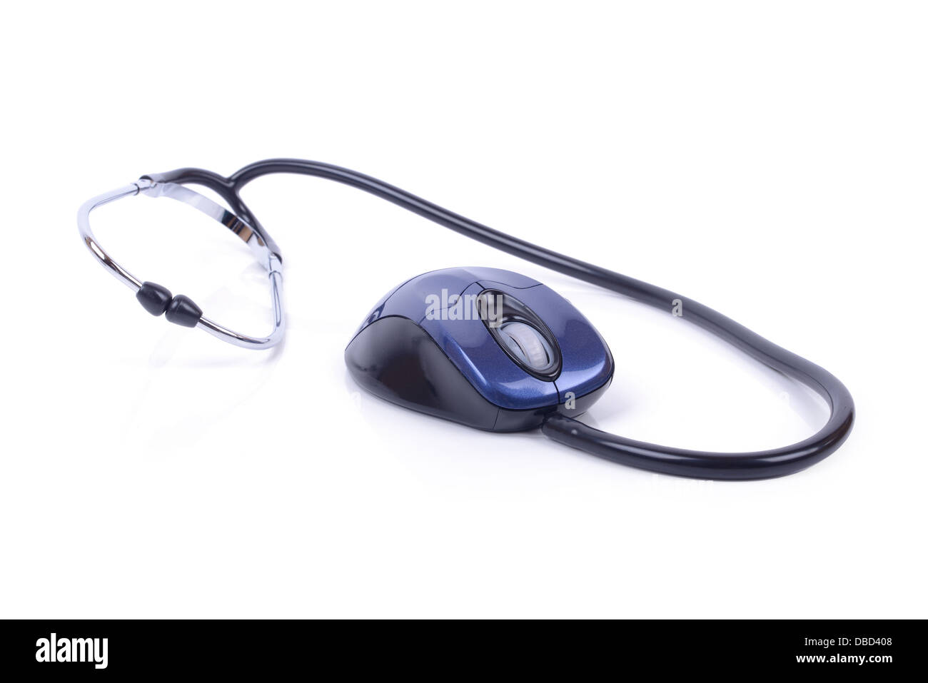 online medical exam mouse and stethoscope isolated on white with clipping path - Stock Image