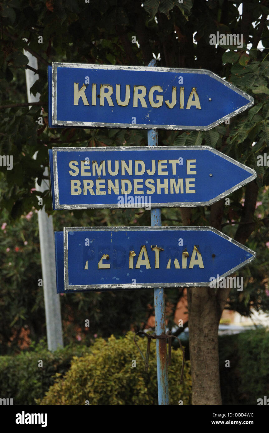 Albania. Tirana. Signs indicating the direction of the different specialties of the hospital. - Stock Image