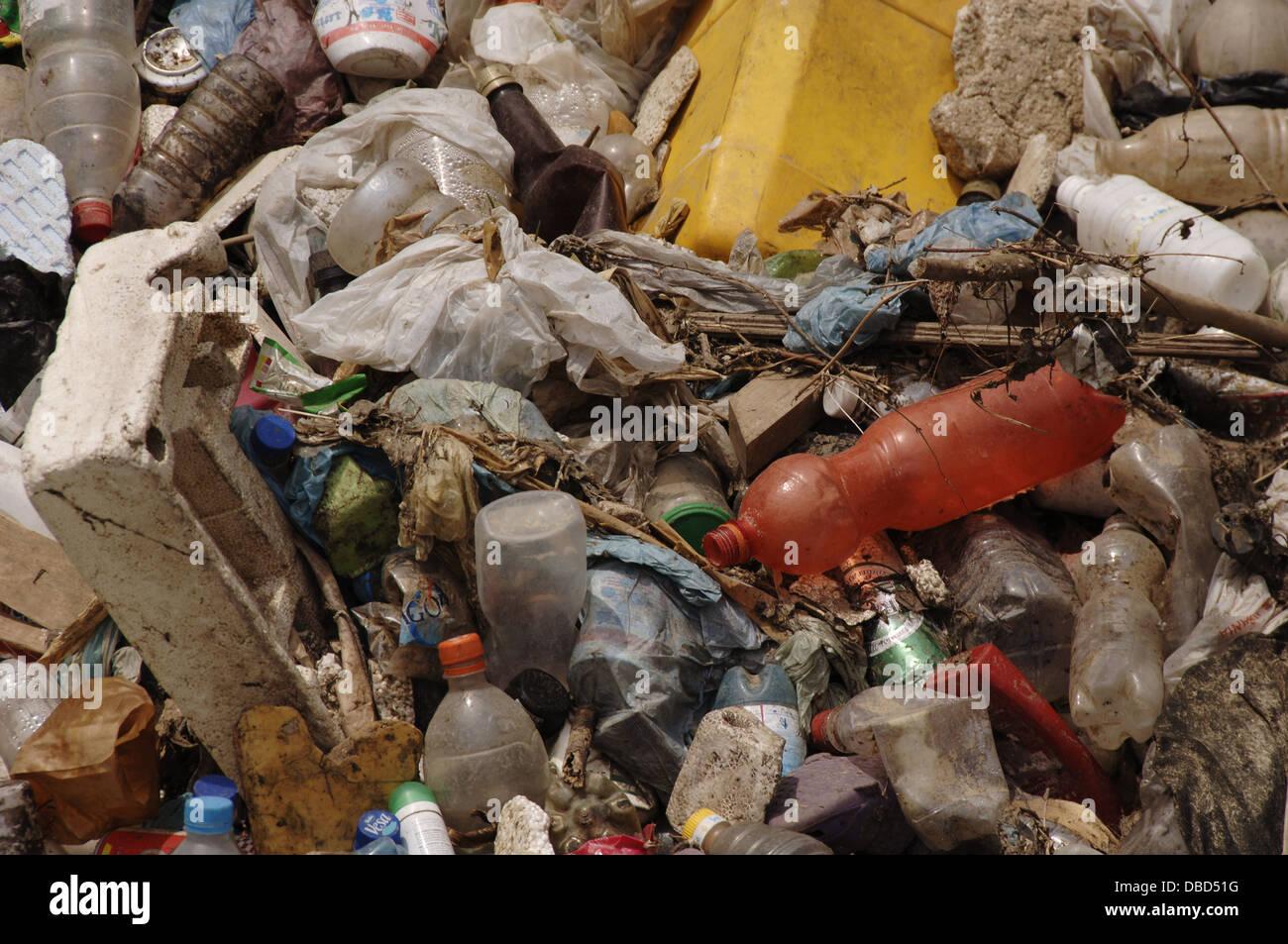 Contamination. Garbage. Lana river. Tirana. Albania. - Stock Image