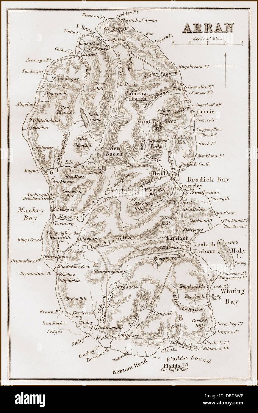 1860s Victorian Map of the Isle of Arran - Stock Image