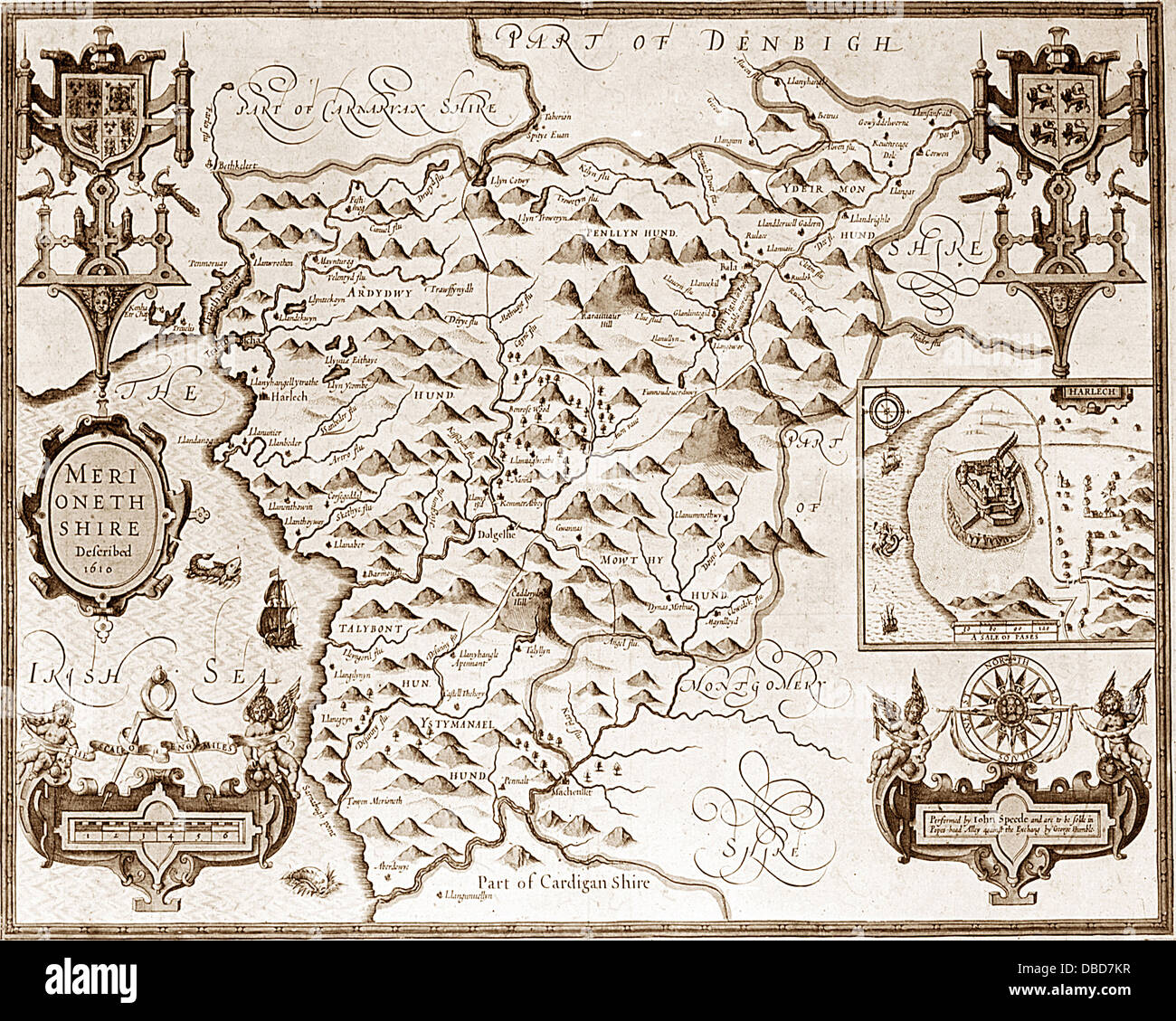 17th Century (1610) Map of Merionethshire - Stock Image