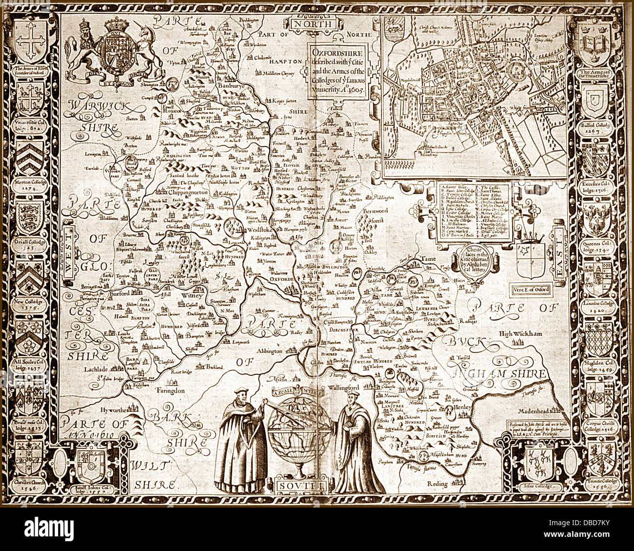 17th Century (1605) Map of Oxfordshire - Stock Image