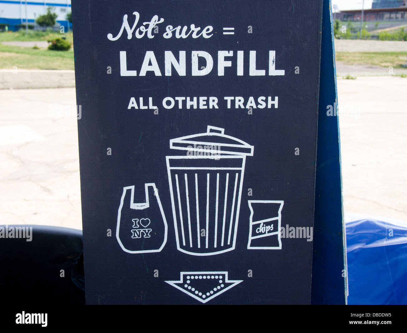 Landfill Sign Black and White - Stock Image