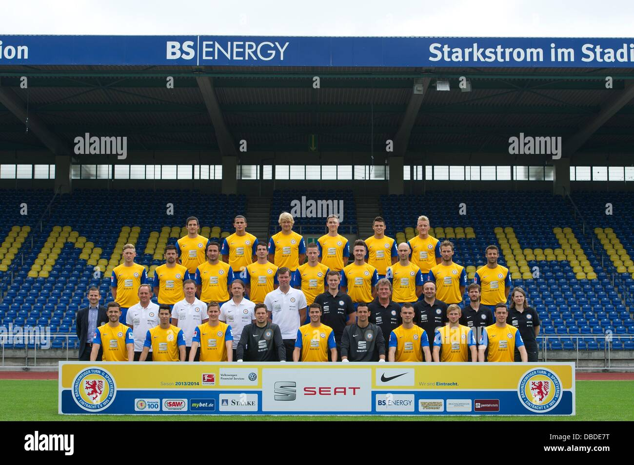 Official team photo of German Bundesliga club Eintracht Braunschweig during the official photocall of season 2013 - Stock Image