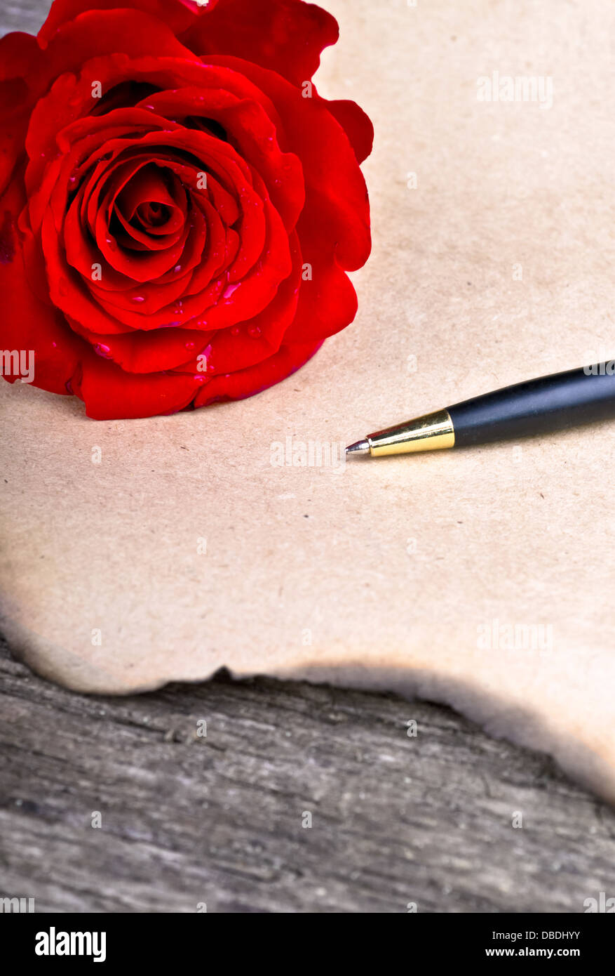 love letter rose flower and love letter on wood background valentines day concept