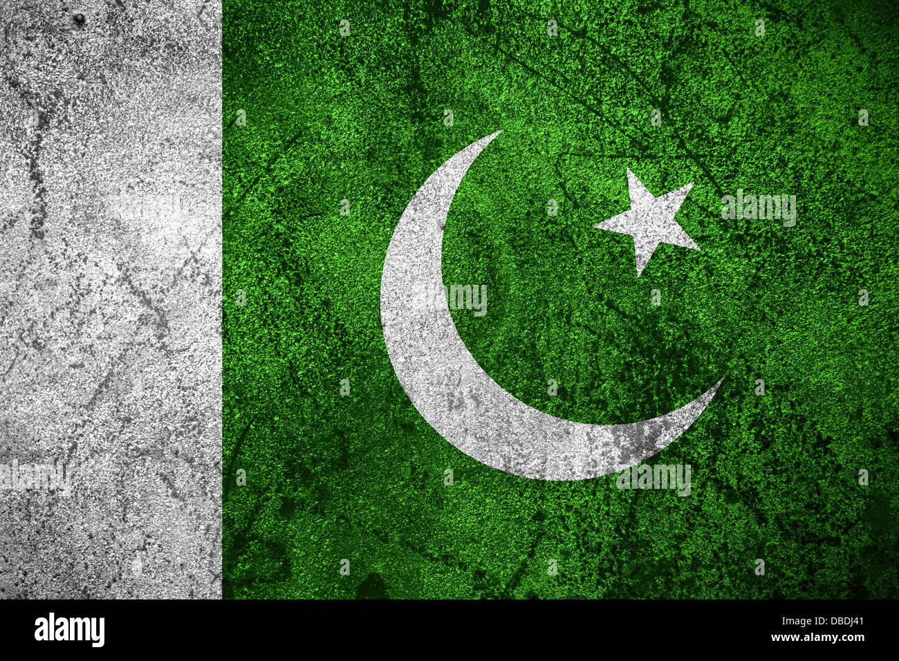 flag of Pakistan or Pakistani banner on rough metal background - Stock Image