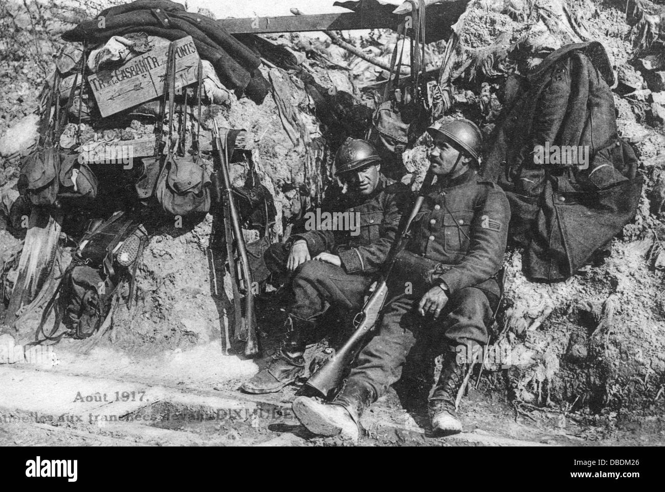 Belgian soldiers in a Great War trench - Stock Image