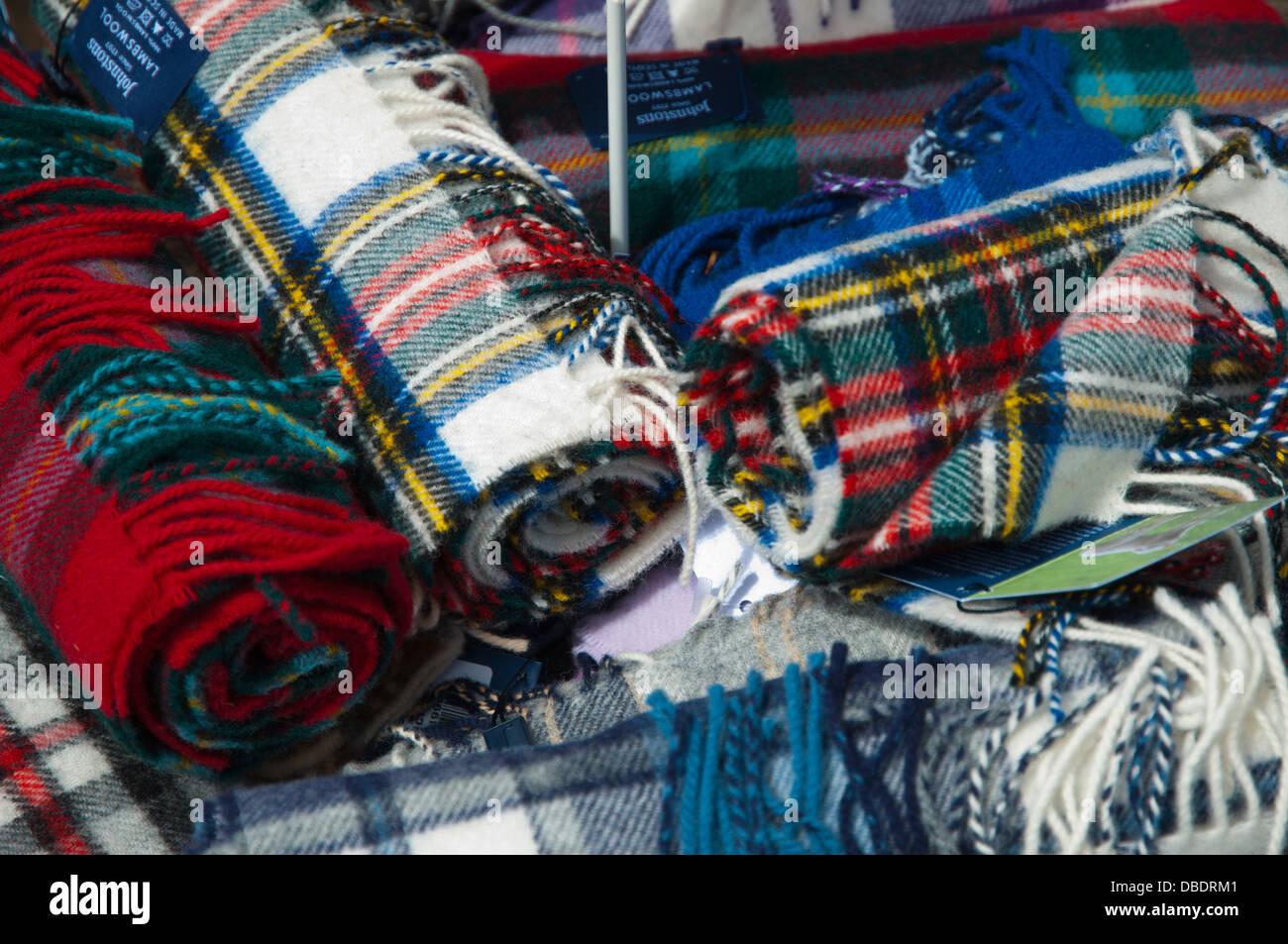Lambwool scarves for sale old town Edinburgh Scotland Britain UK Europe - Stock Image