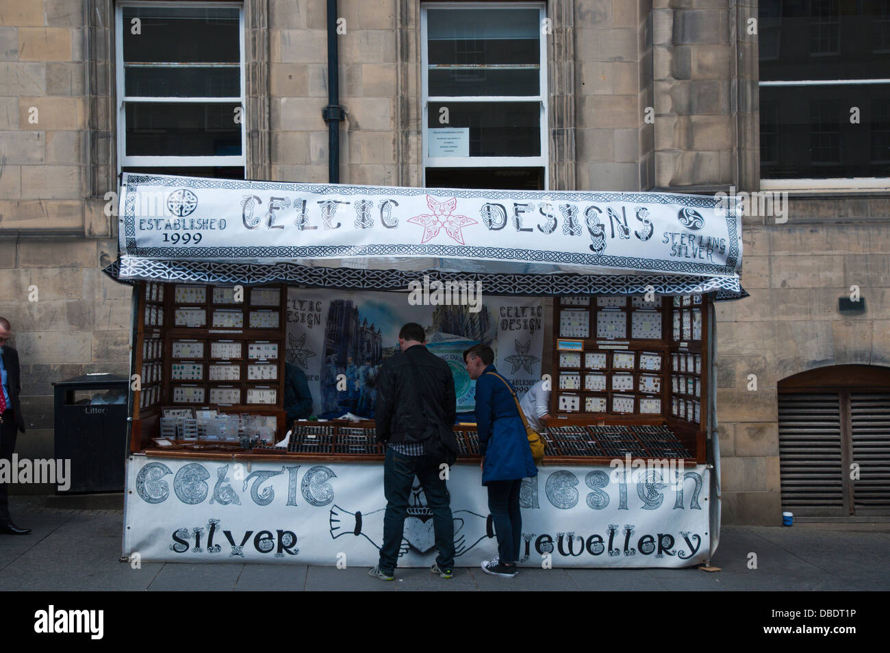 Stall selling local jewellery and other locally designed products Royal Mile old town Edinburgh Scotland Britain - Stock Image