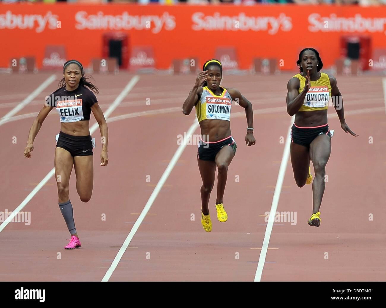 London, UK. 27th July, 2013. Allyson Felix (USA, left), Shalonda Solomon (USA) and Anyika Onuora (GBR, right). Womens - Stock Image