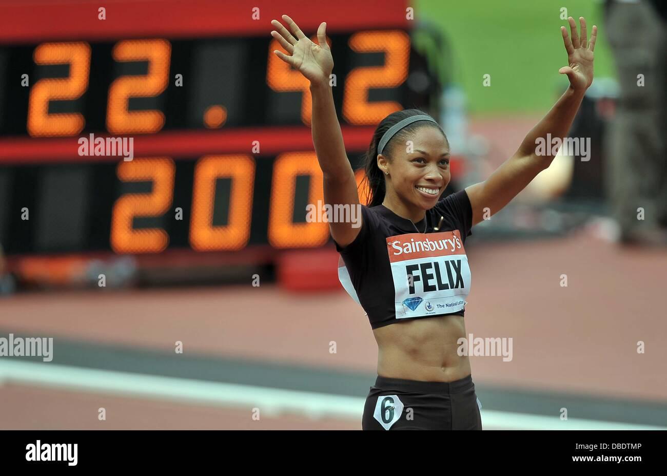 London, UK. 27th July, 2013. Allyson Felix (USA) celebrates. Womens 200m. Sainsburys Anniversary Games. IAAF Diamond - Stock Image