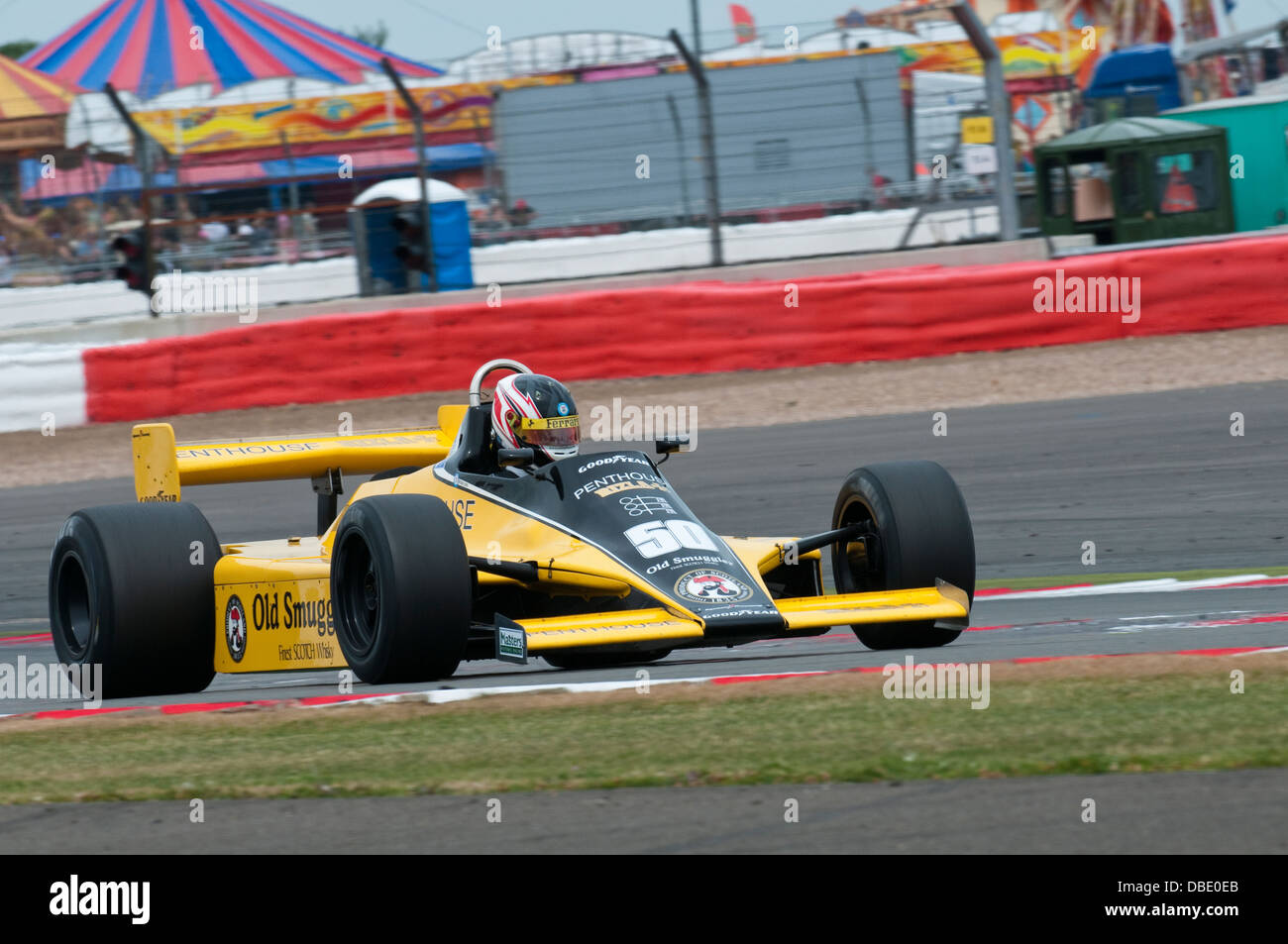 Michael LYONS in the RAM Williams FW07 F1 car winner of the 2013 Silverstone Classic FIA Masters Historic Formula - Stock Image