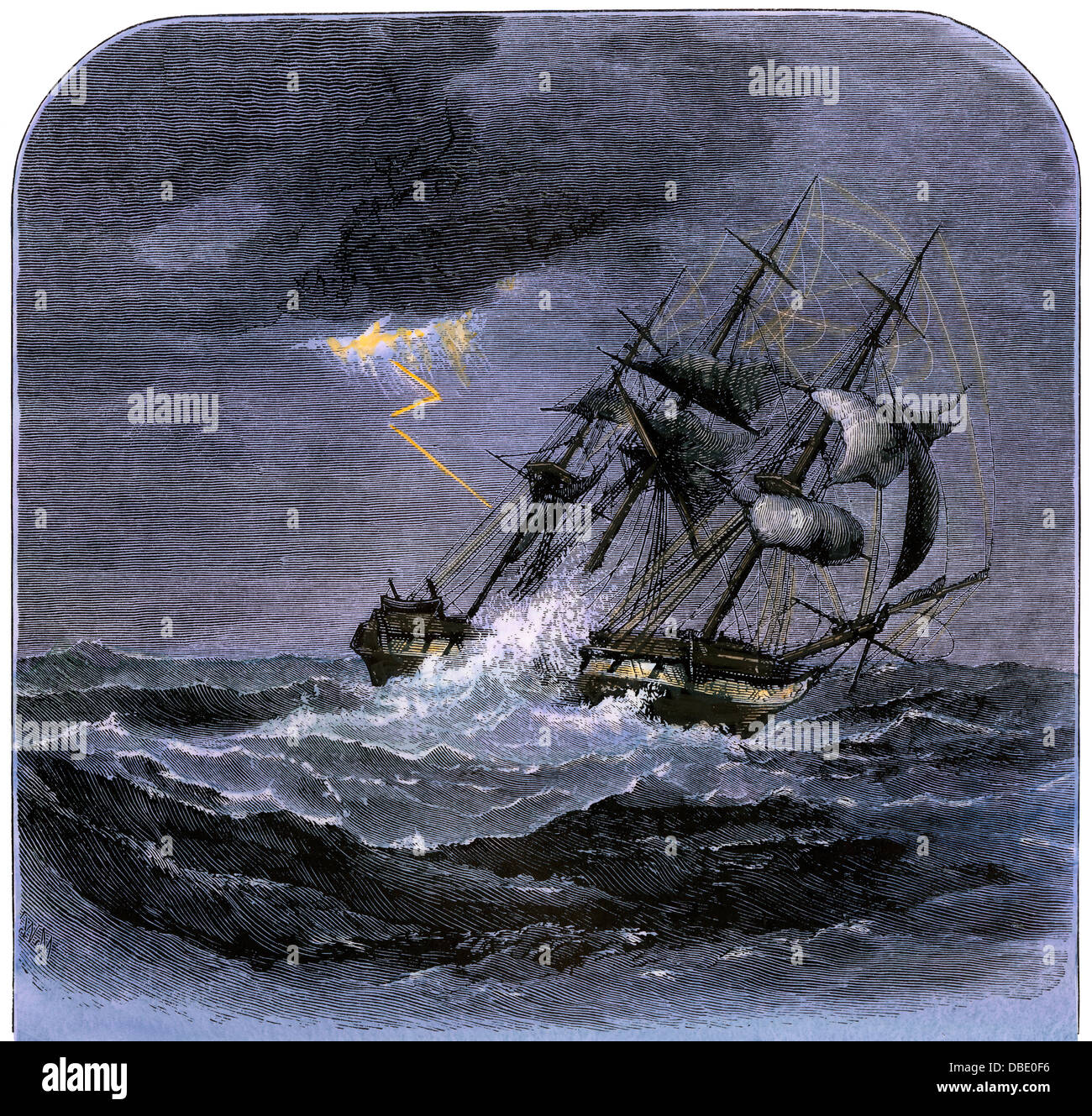 Lightning striking a sailing-ship in a storm at sea. Hand-colored woodcut - Stock Image