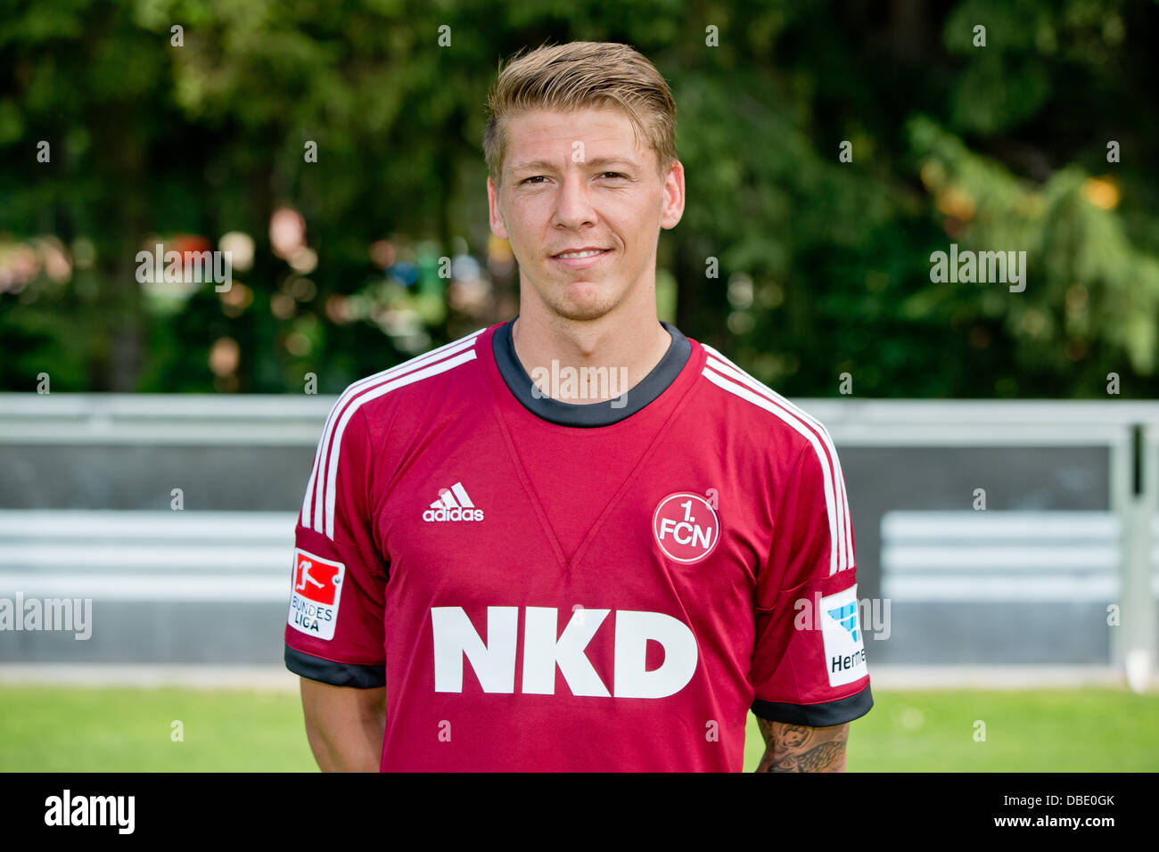 Player Mike Frantz of German Bundesliga club 1. FC Nurnberg during the official photocall for the season 2013-14 - Stock Image