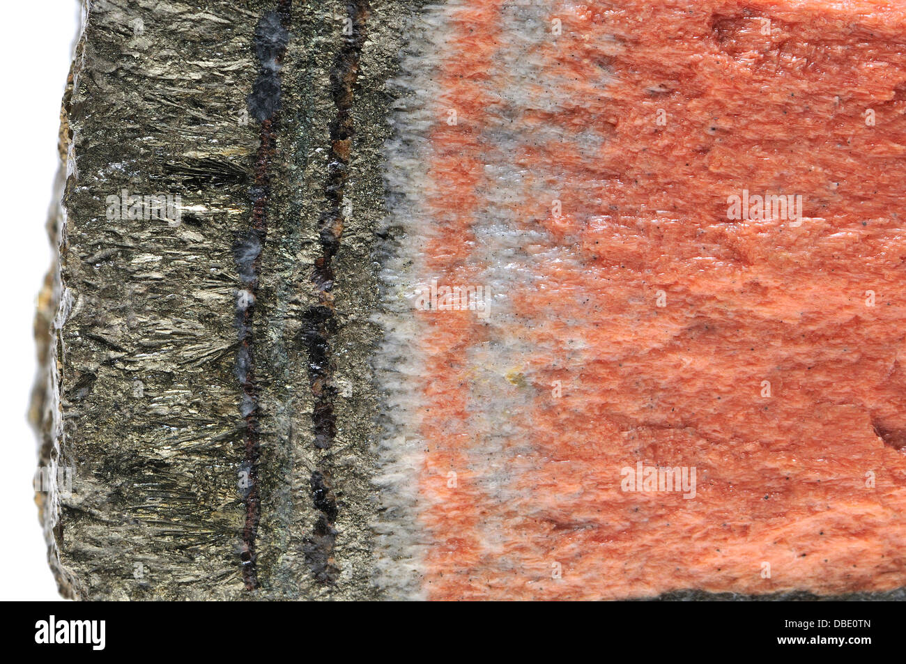 Banded Barian Celestine (strontium sulphate) and iron pyrite - Stock Image