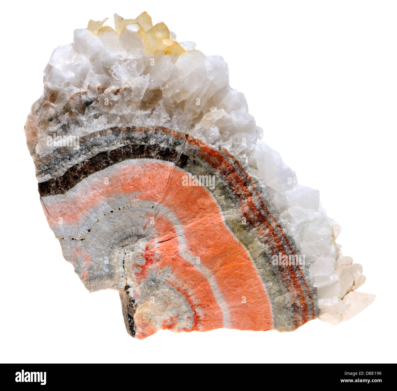 Banded Barian Celestine (strontium sulphate), sphalerite and calcite crystals - Stock Image