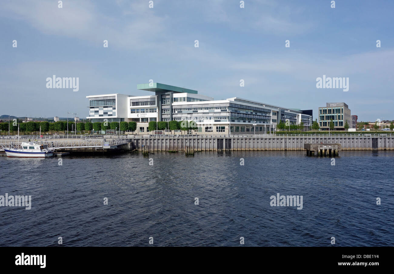 Clydebank college in Clydebank West Dunbartonshire Scotland as seen from River Clyde - Stock Image