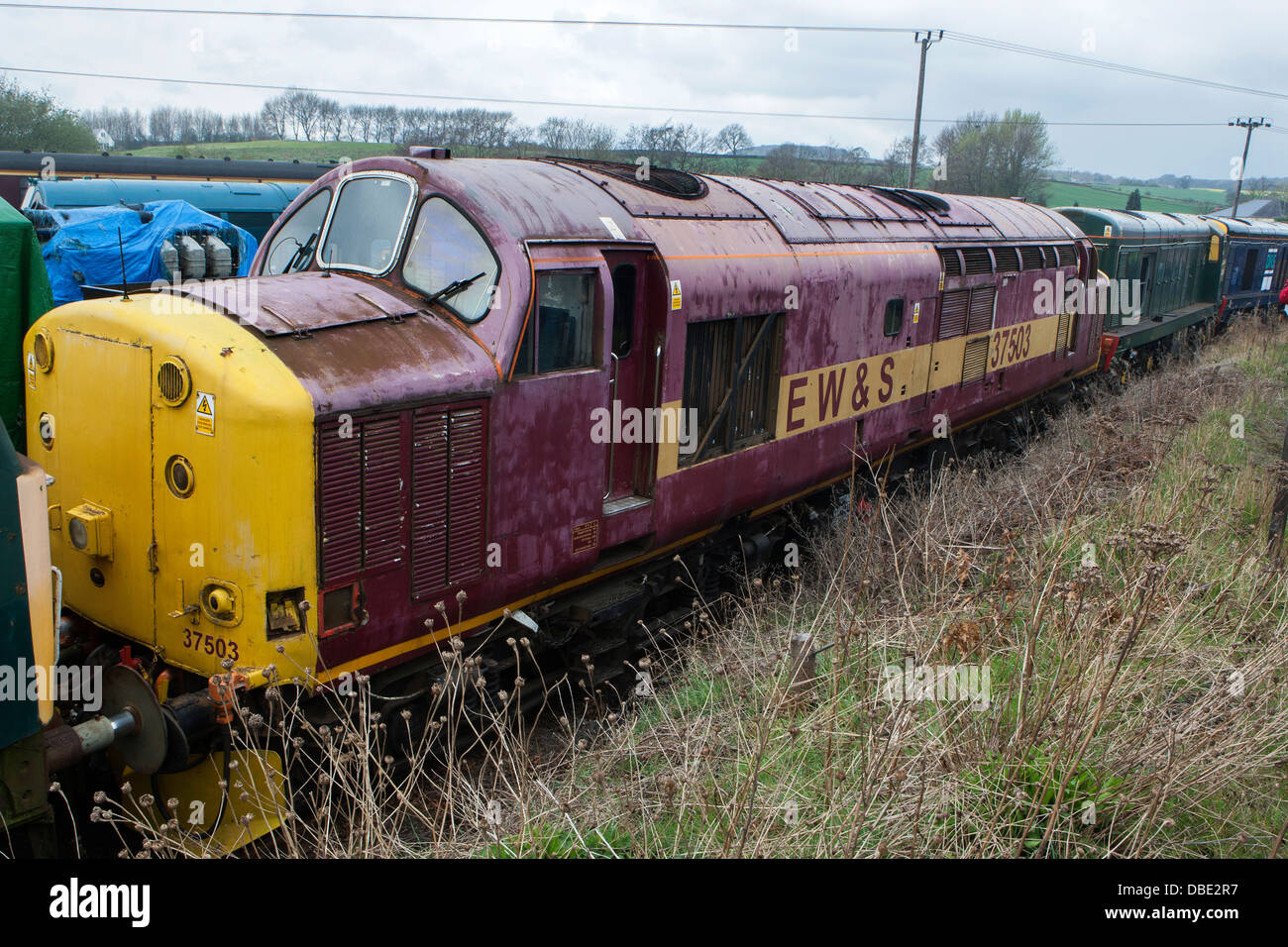 Scrapped Diesel locomotives waiting for restoration at the Barrow Hill Engine Shed, Chesterfield, Derbyshire Stock Photo