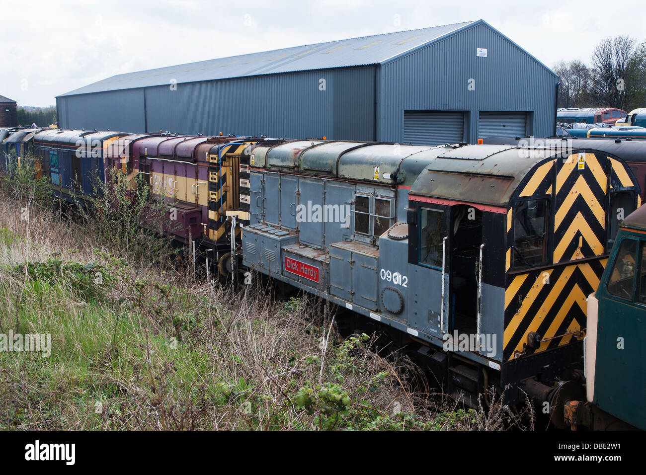 Scrapped Diesel locomotives waiting for restoration at the Barrow Hill Engine Shed, Chesterfield, Derbyshire - Stock Image