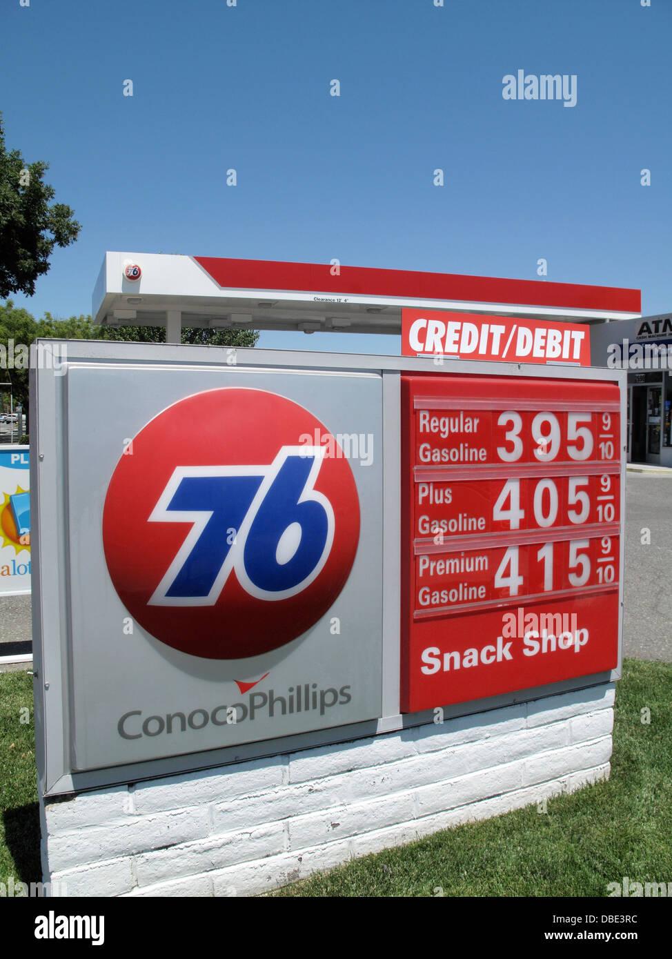 ConocoPhillips 76 gas station price sign in San Jose, California