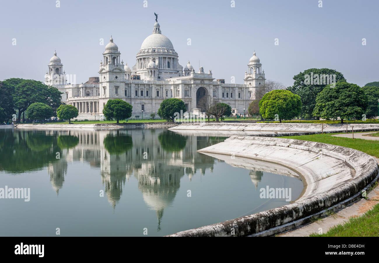 Victoria Memorial on a bright sunny morning in Kolkata, India. - Stock Image