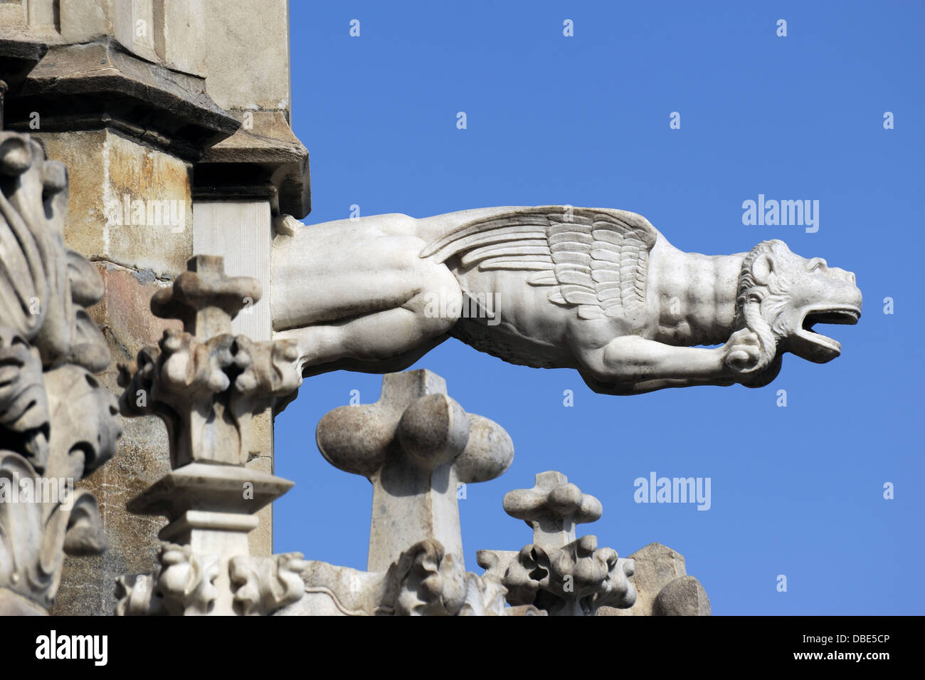 Italy. Milan. Cathedral. Gothic. 14th century. Exterior. Detail. Gargoyle. Fantastic animal. - Stock Image