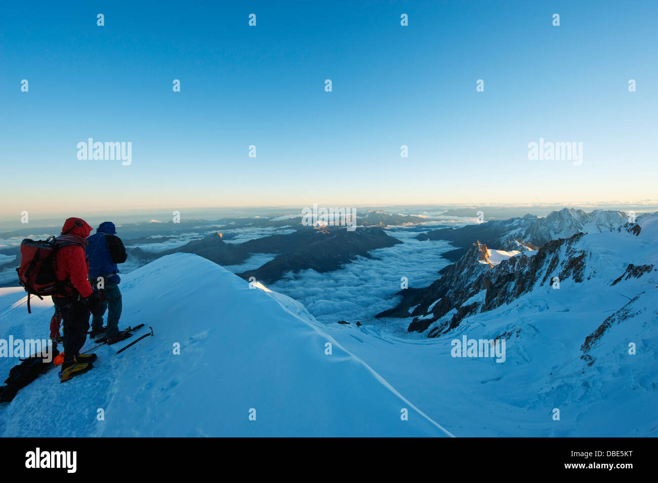 view to Aiguille du Midi cable car station, Mont Blanc range, Chamonix, France, Europe - Stock Image