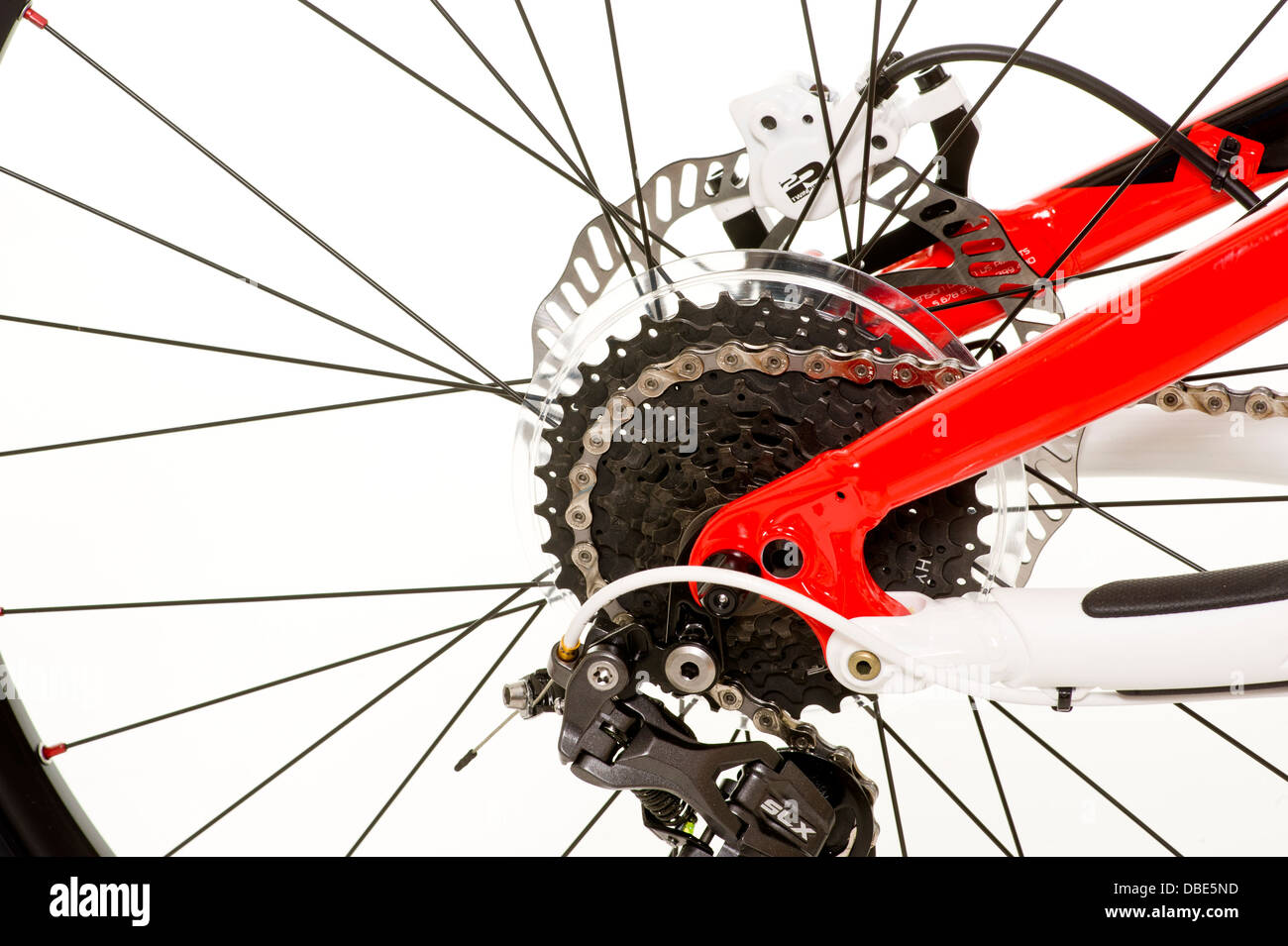 Close up of rear wheel of mountain bike - Stock Image