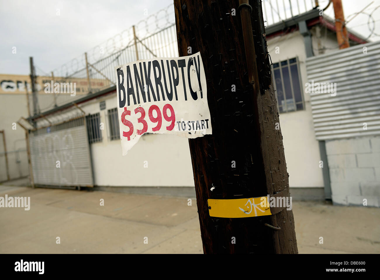 bankruptcy sign los angeles california - Stock Image