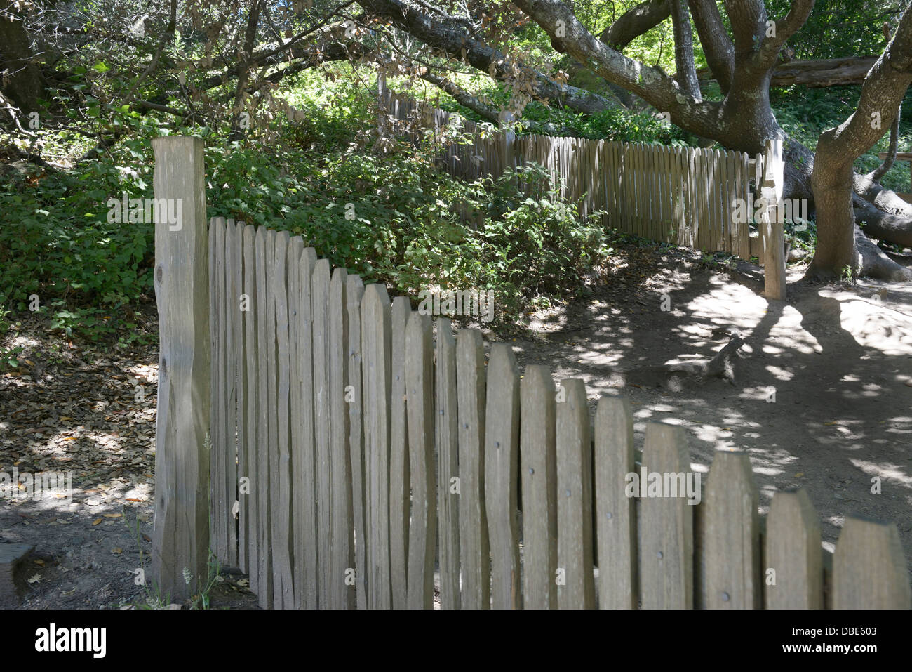 Fence on the San Andreas Fault that was split apart by the 1906 earthquake, Point Reyes, CA - Stock Image