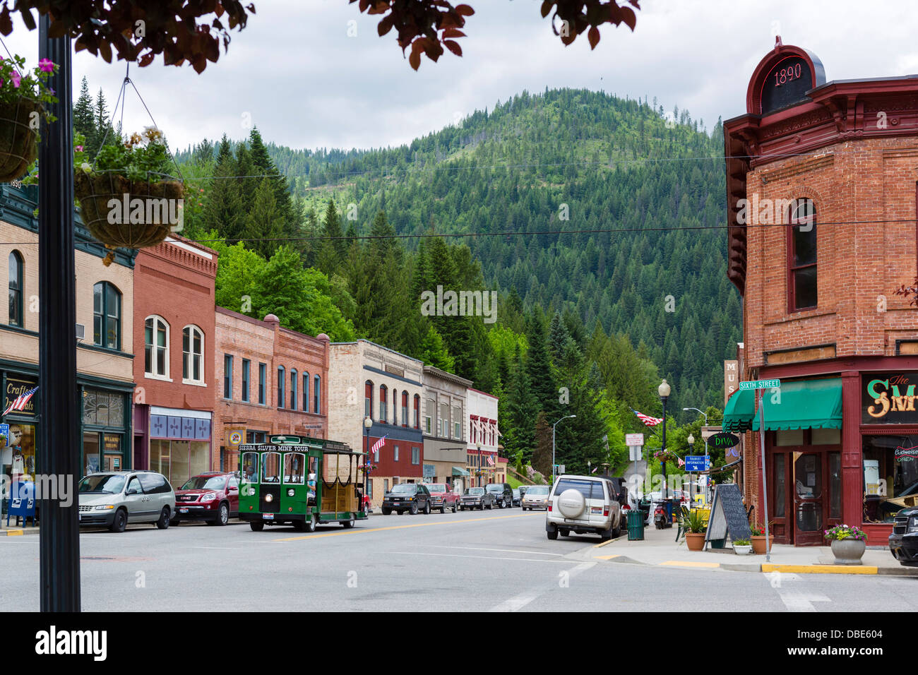 Bank Street (Main Street) in the historic old silver mining town of Wallace, Idaho, USA - Stock Image