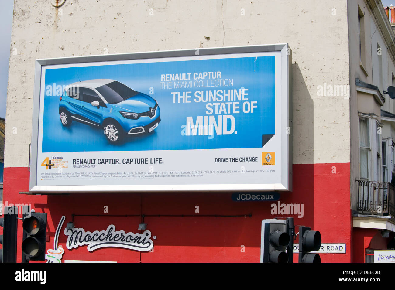 Renault cars advertising billboard on JCDecaux site on side wall of building in Brighton East Sussex England UK - Stock Image