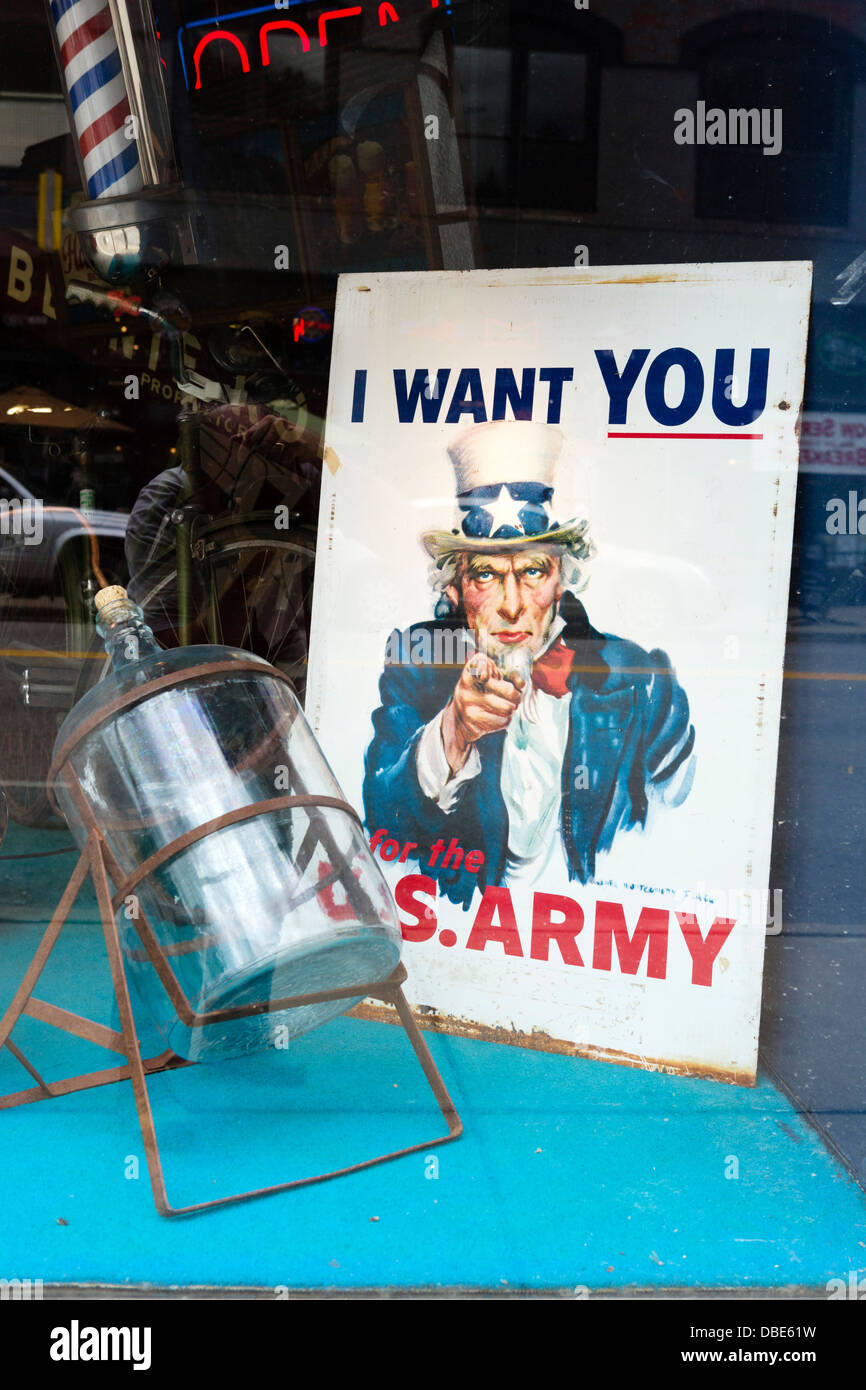 Uncle Sam army recruiting posting in a shop window in the historic old silver mining town of Wallace, Idaho, USA - Stock Image