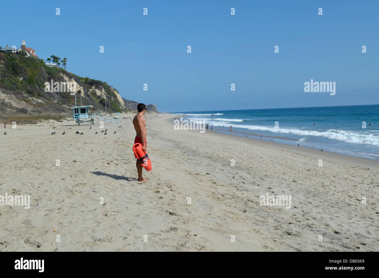 Zuma Beach with lifeguard, Malibu, CA Stock Photo