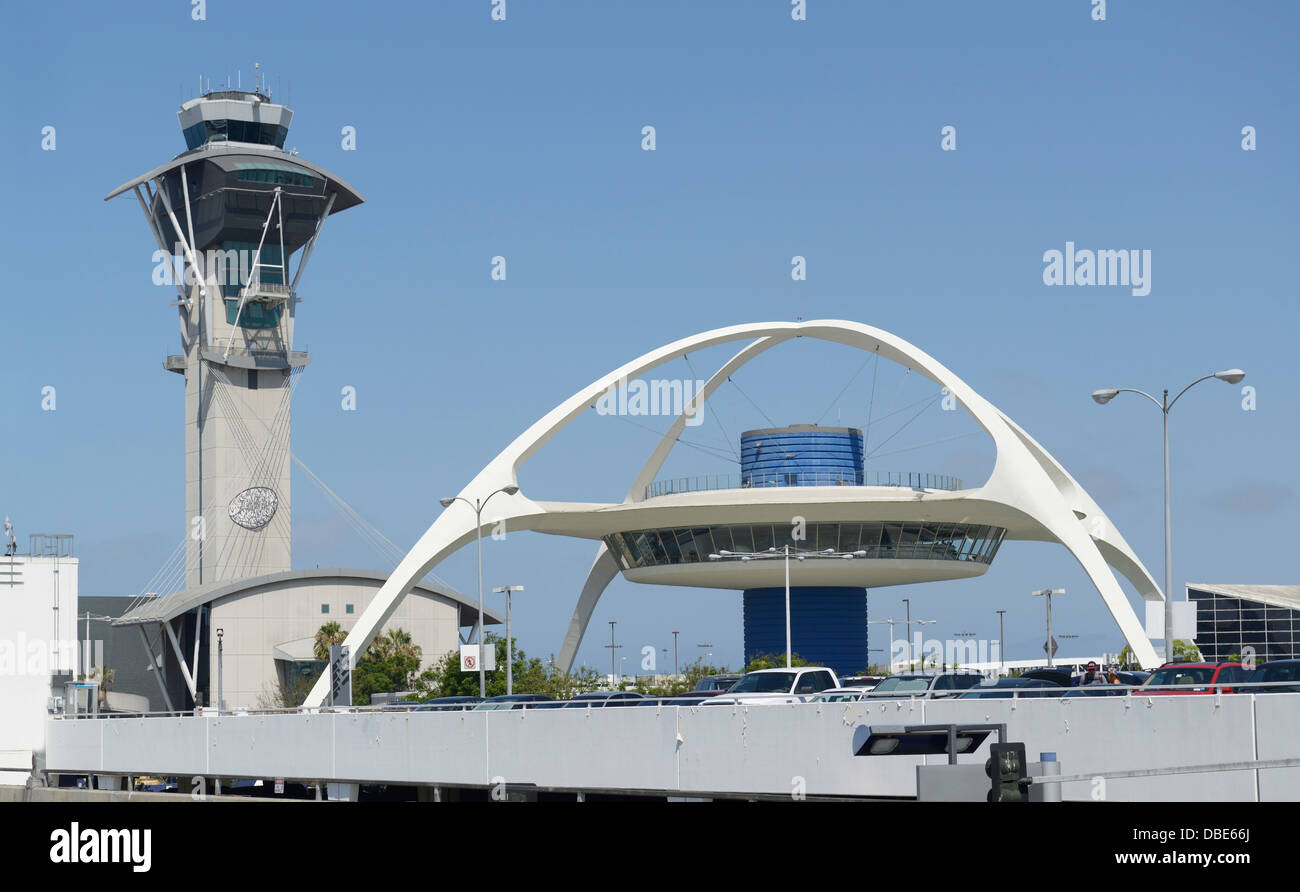 Los Angeles International Airport with control tower and Theme Building - Stock Image